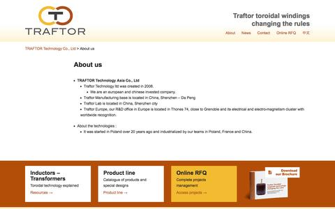 Screenshot of About Page traftor.com - About us – TRAFTOR Technology Co., Ltd - captured Oct. 27, 2014