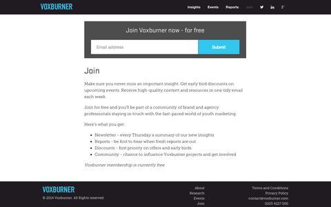 Screenshot of Signup Page voxburner.com - Voxburner - captured Sept. 23, 2014
