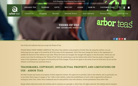 Screenshot of Terms Page arborteas.com - Terms of Use - captured Nov. 6, 2018