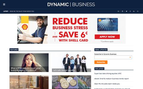 Screenshot of Home Page dynamicbusiness.com.au - Dynamic Business - Business expertise, news and inspiration for Australian small businesses and entrepreneurs. - captured July 22, 2019