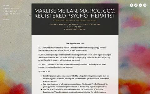Screenshot of FAQ Page meilan.ca - FAQ — Marlise Meilan, MA, RCC, CCC, Registered Psychotherapist - captured Nov. 27, 2016