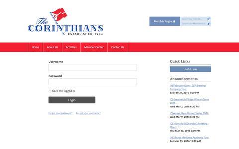 Screenshot of Login Page memberclicks.net - The Corinthians - captured Feb. 24, 2016