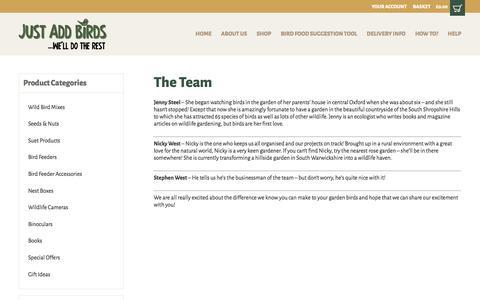 Screenshot of Team Page justaddbirds.co.uk - The Team | Bird cam | Squirrel buster | Bird books | Just Add Birds - captured Oct. 16, 2017