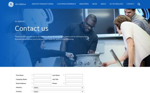 Screenshot of Contact Page ge.com - Contact us | GE Additive | GE Additive - captured Nov. 2, 2018