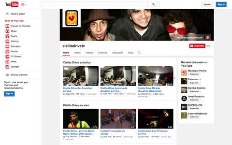 Screenshot of YouTube Page youtube.com - cielitodrivetv  - YouTube - captured Oct. 22, 2014