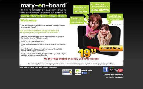 Screenshot of Home Page maryonboard.com - Mary On Board - captured Oct. 5, 2014
