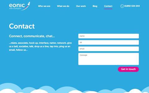 Screenshot of Contact Page eonic.com - Eonic: Based In Tunbridge Wells & Rochester, Kent, UK - captured Sept. 28, 2018