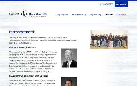 Screenshot of Team Page gearmotions.com - Management - About Gear Motions Management Team - captured July 16, 2018