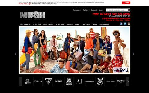 Screenshot of Home Page mushclothing.com - Mush Clothing - Designer Apparel, Footwear & Handbags - captured Sept. 19, 2014