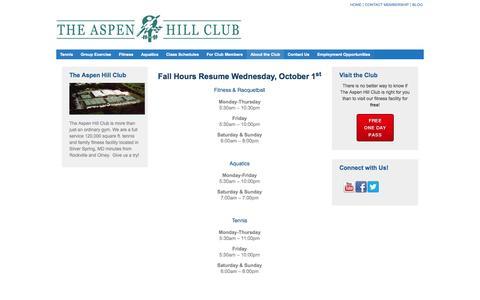 Screenshot of Hours Page aspenhillclub.com - Club Hours - captured Sept. 30, 2014