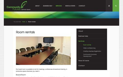 Screenshot of Services Page cfnanaimo.org - Reasonably priced room rentals for your boardroom or meeting needs | Community Futures Central Island - captured Jan. 30, 2016