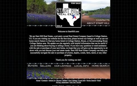Screenshot of Home Page starthill.com - Start Hill Real Estate Company, College Station Texas - captured Oct. 1, 2014