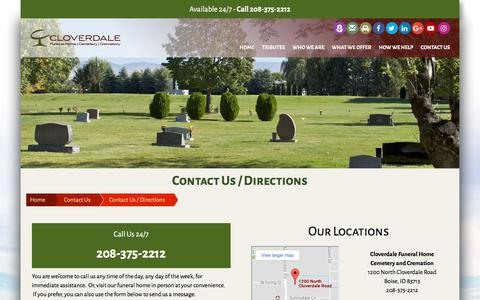 Screenshot of Contact Page cloverdalefuneralhome.com - Contact Us | Cloverdale Funeral Home and Memorial Park | Boise, ID & Meridian, ID - captured Aug. 6, 2017