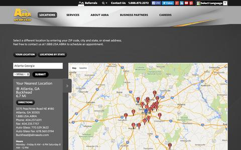 Screenshot of Locations Page abraauto.com - Collision and Auto Glass Locations | ABRA Auto Body & Glass - captured June 25, 2016