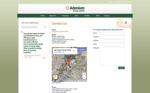 Screenshot of Contact Page adeniumcapital.com - Adenium - captured Feb. 5, 2016