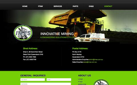 Screenshot of Contact Page imes.com.au - Contact | Plasma Transfer Arc Welding, Fabrication of Wear Parts Australia - Innovative Mining and Engineering - captured Oct. 6, 2014