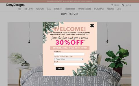 Screenshot of Signup Page denydesigns.com - Join The Fun!   DENY Designs Home Accessories - captured March 24, 2017