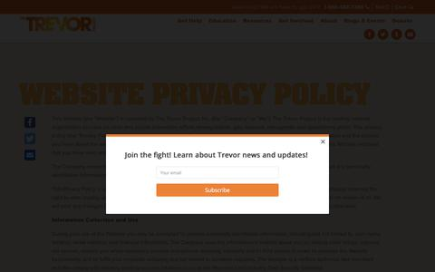 Screenshot of Privacy Page thetrevorproject.org - Website Privacy Policy – The Trevor Project - captured Oct. 13, 2017