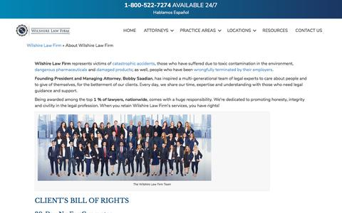 Screenshot of About Page wilshirelawfirm.com - About Wilshire Law Firm - California Personal Injury Attorneys - captured July 11, 2018
