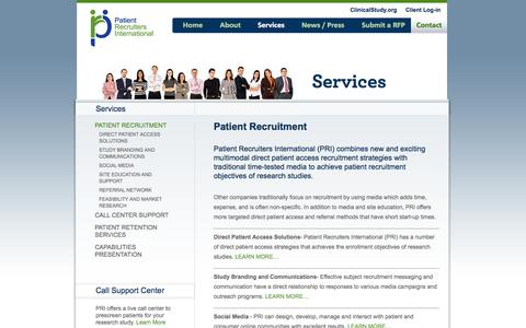 Screenshot of Services Page patientrecruiters.com - Patient Recruiters, Patient Recruitment Services, Patient Recruitment Agency | Patient Recruiters International - captured Oct. 2, 2014