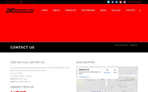 Screenshot of Contact Page explotrain.com - Contact Us - IED Training Aids and Battlefield Effects - Explotrain - captured Sept. 17, 2017