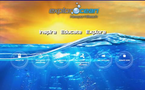 Screenshot of Home Page explorocean.org - ExplorOcean® - Ocean Education and Literacy Center - captured July 16, 2016