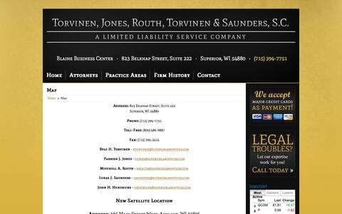 Screenshot of Contact Page Maps & Directions Page superiorlawoffices.com - Map and Driving Directions Torvinen, Jones, Routh, Torvinen & Saunders, S.C. Superior, WI (715) 394-7751 - captured Nov. 5, 2017