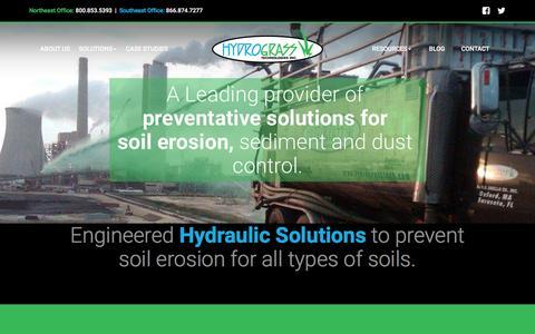 Screenshot of Home Page hydrograsstech.com - Hydrograss: Soil Erosion, Sediment & Dust Control Solutions - captured Feb. 2, 2016