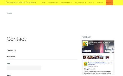 Screenshot of Contact Page connemaramathsacademy.com - Contact - Connemara Maths Academy - captured May 20, 2017