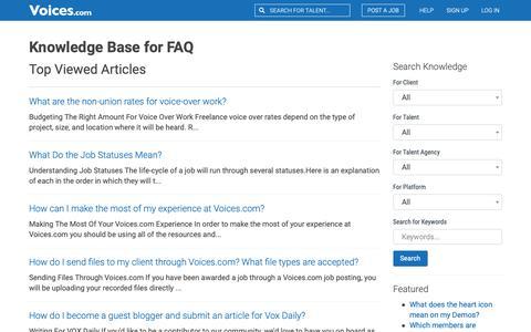 Screenshot of FAQ Page voices.com - Knowledge Base for faq |         Voices.com - captured Dec. 6, 2018
