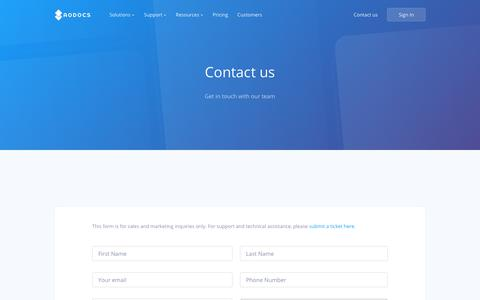 Screenshot of Contact Page aodocs.com - Cloud document management software | AODocs - captured July 29, 2018