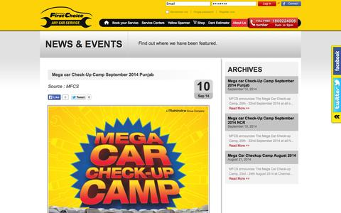Screenshot of Press Page mahindrafirstchoiceservices.com - News & Events - Mahindra First Choice Services - captured Sept. 19, 2014