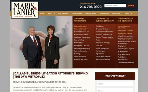 Screenshot of Home Page marislanier.com - Dallas Fort Worth Business & Employment Law Attorneys – - captured June 29, 2018