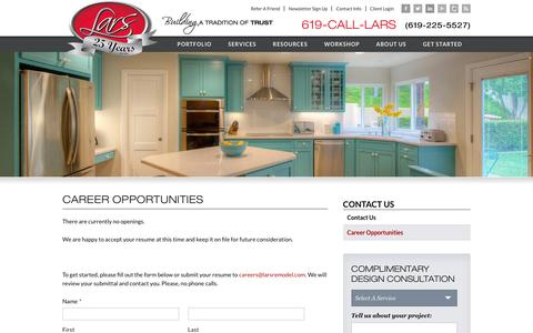 Screenshot of Jobs Page larsremodel.com - Home Remodel Companies, San Diego Construction Careers | Lars Remodeling & Design - captured March 13, 2016