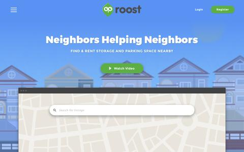 Screenshot of Home Page roost.com - Roost - captured Feb. 19, 2016