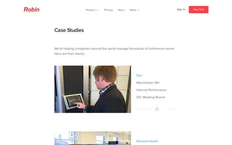 Screenshot of Case Studies Page robinpowered.com - Case Studies - captured Aug. 20, 2016