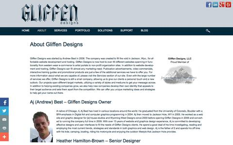 Screenshot of About Page gliffen.com - About Gliffen Designs Website design and development in Jackson Hole - captured Oct. 2, 2014