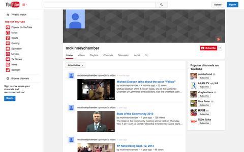 Screenshot of YouTube Page youtube.com - mckinneychamber  - YouTube - captured Oct. 27, 2014