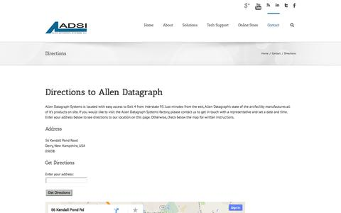 Screenshot of Maps & Directions Page allendatagraph.com - ADSI Directions to Allen Datagraph Systems - captured Oct. 4, 2014