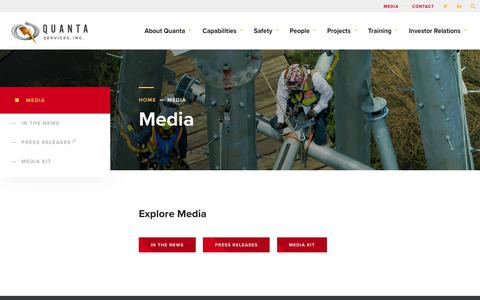 Screenshot of Press Page quantaservices.com - Media - Quanta Services - captured May 18, 2019