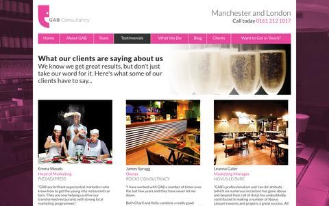 Screenshot of Testimonials Page gabconsultancy.co.uk - GAB Consultancy Testimonials - Manchester - London : GAB Consultancy - captured Sept. 26, 2014