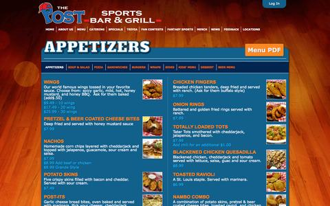 Screenshot of Menu Page thepostsportsbar.com - The Post  » Menu Category » Appetizers - captured Oct. 9, 2014
