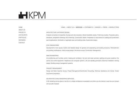 Screenshot of Services Page wordpress.com - KPM Services | KPM Project Management Ltd. - captured Nov. 27, 2016
