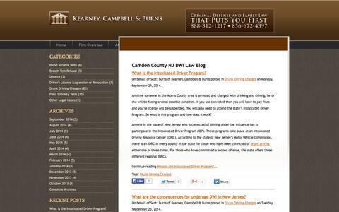 Screenshot of Blog nj-law.com - Camden County NJ DWI Law Blog   Kearney, Campbell & Burns - captured Oct. 6, 2014