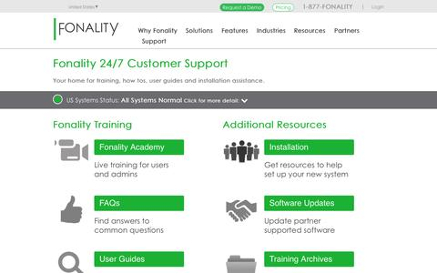 Screenshot of Support Page fonality.com - Fonality Support - captured Oct. 1, 2015