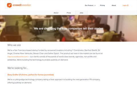 Screenshot of Jobs Page crowdbooster.com - Crowdbooster - Jobs - captured Nov. 23, 2015