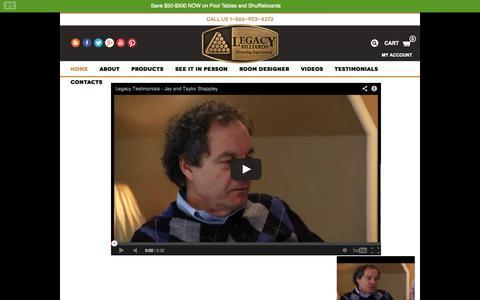 Screenshot of Testimonials Page legacybilliards.com - Testimonials & Reviews | Legacy Billiards - captured Sept. 29, 2014