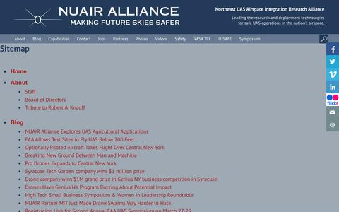 Screenshot of Site Map Page nuairalliance.org - Sitemap » NUAIR Alliance - captured Oct. 18, 2018