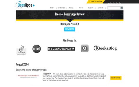 Screenshot of Press Page beesapps.com - iPad App review - Best Taking note App for Business - captured Sept. 30, 2014