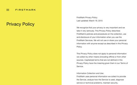 Screenshot of Privacy Page firstmarkcap.com - Privacy Policy - FirstMark - captured Jan. 11, 2019